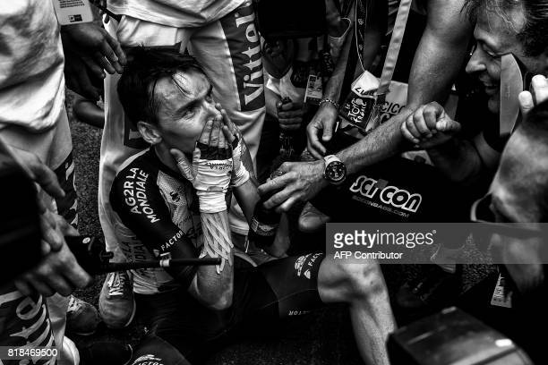 France's Romain Bardet celebrates after crossing the finish line at the end of the 2145 km twelfth stage of the 104th edition of the Tour de France...