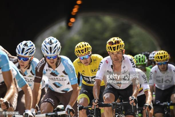 France's Romain Bardet France's Alexis Vuillermoz Great Britain's Christopher Froome wearing the overall leader's yellow jersey and Belarus' Vasil...