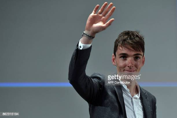 France's Romain Bardet gestures during the presentation of the official route of the 2018 edition of the Tour de France cycling race in Paris on...