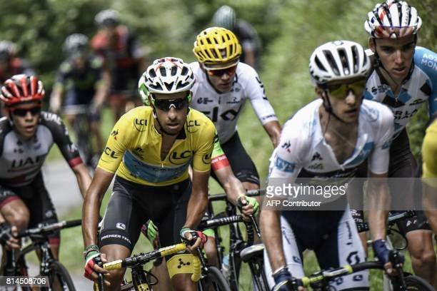 France's Romain Bardet Great Britain's Simon Yates wearing the best young's white jersey Great Britain's Christopher Froome Italy's Fabio Aru wearing...