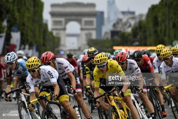 France's Romain Bardet Poland's Michal Kwiatkowski Netherlands' Koen de Kort Great Britain's Christopher Froome wearing the overall leader's yellow...
