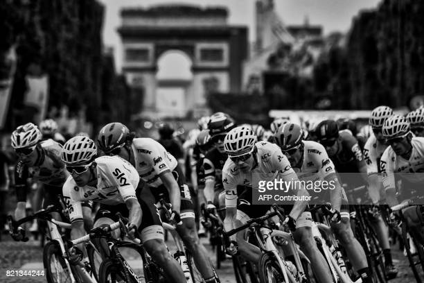France's Romain Bardet Poland's Michal Kwiatkowski Netherlands' Koen de Kort Great Britain's Christopher Froome wearing the overall leader's yellow...