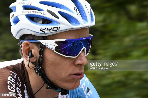 France's Romain Bardet rides during the 1795 km eighteenth stage of the 104th edition of the Tour de France cycling race on July 20 2017 between...