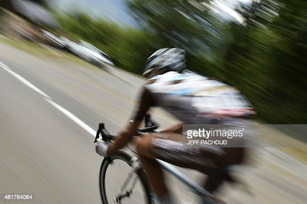 France's Romain Bardet rides in a breakaway during the 138 km nineteenth stage of the 102nd edition of the Tour de France cycling race on July 24...