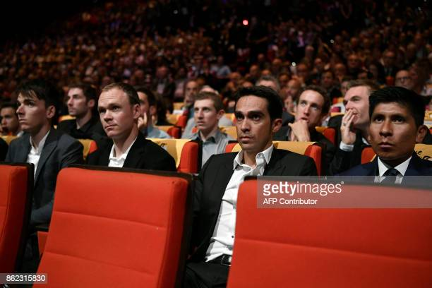 France's Romain Bardet Title holder Britain's Chris Froome Spain's Alberto Contador and Colombia's Nairo Quintana attend the presentation of the...