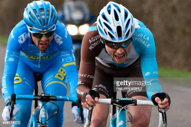 France's Romain Combaud and France's PierreRoger Latour ride in a breakaway during the 190 km third stage of the 75th edition of the ParisNice...