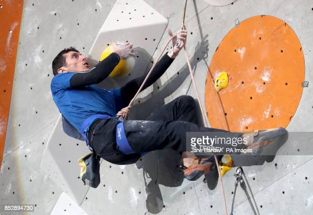France's Romain Desgranges climbs in the lead semifinals during the IFSC Climbing World Cup at the Edinburgh International Climbing Arena