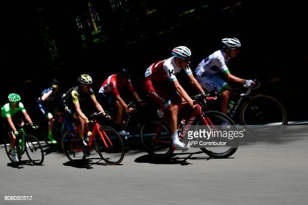 France's Romain Hardy Germany's Nils Politt Australia's Adam Hansen France's Romain Sicard Belgium's Frederik Backaert and USA's Nathan Brown ride in...
