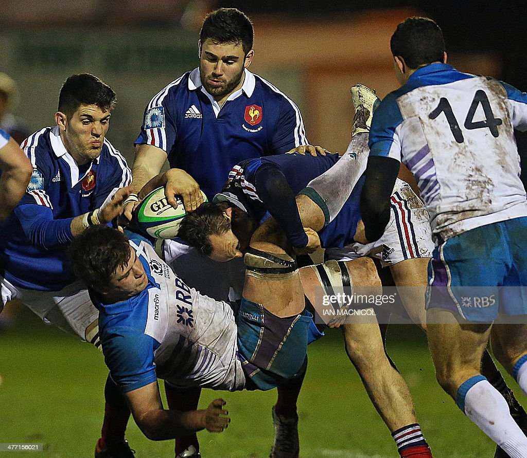 France's Romain Ruffenach Makes A Tackle During The U-20