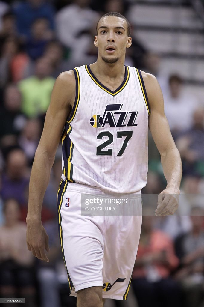 France's, <a gi-track='captionPersonalityLinkClicked' href=/galleries/search?phrase=Rudy+Gobert&family=editorial&specificpeople=7616046 ng-click='$event.stopPropagation()'>Rudy Gobert</a> of the Utah Jazz walks down the court during a game against the Houston Rockets at the Energy Solutions Arena in Salt Lake City, Utah on March 12, 2015.