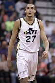 France's Rudy Gobert of the Utah Jazz walks down the court during a game against the Houston Rockets at the Energy Solutions Arena in Salt Lake City...
