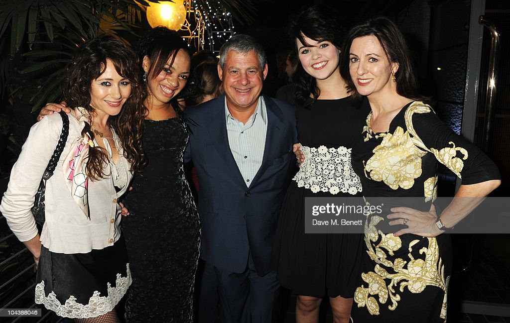 Frances Ruffelle, Rosalind James, <a gi-track='captionPersonalityLinkClicked' href=/galleries/search?phrase=Cameron+Mackintosh&family=editorial&specificpeople=217237 ng-click='$event.stopPropagation()'>Cameron Mackintosh</a>, Katie Hall and Rebecca Caine attend the afterparty of 'Les Miserables' at The Barbican on September 23, 2010 in London, England.