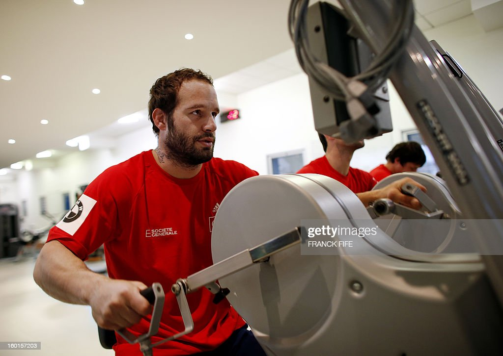France's rugby union national team fly half Frederic Michalak takes part in an indoor training session, on January 27, 2013 in Marcoussis, south of Paris as part of the preparation of the Six Natio...