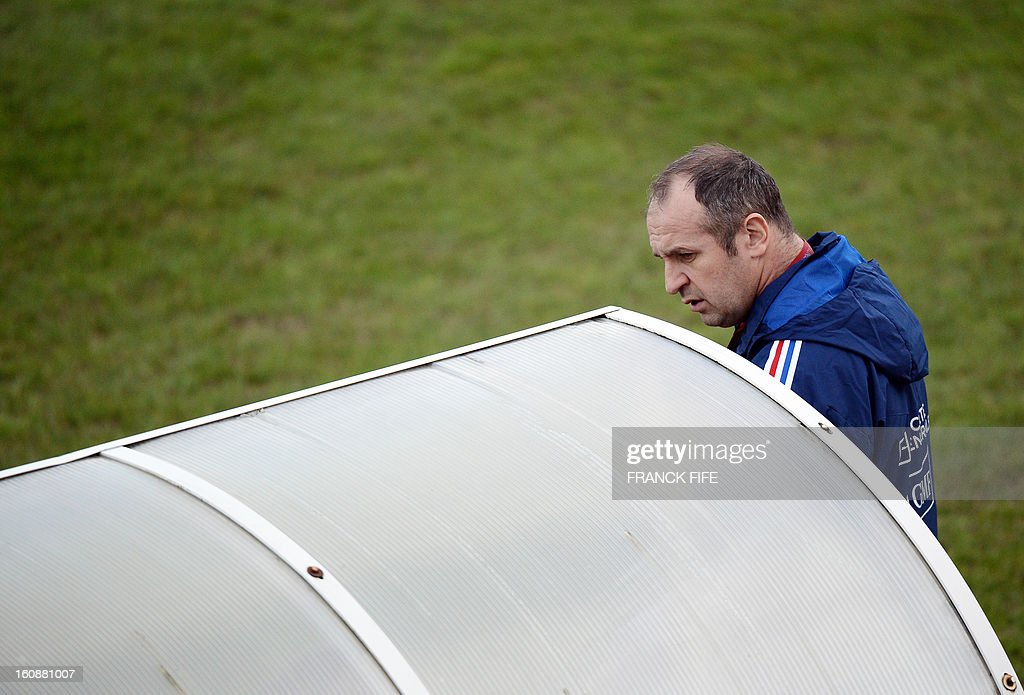 France's rugby union national team head coach Philippe Saint Andre arrives for a training session, on February 7, 2013 in Marcoussis, south of Paris, as part of the preparation of the Six Nations rugby union tournament. France will play Wales in their Six Nations' rugby match on February 9, 2013 in Saint-Denis.