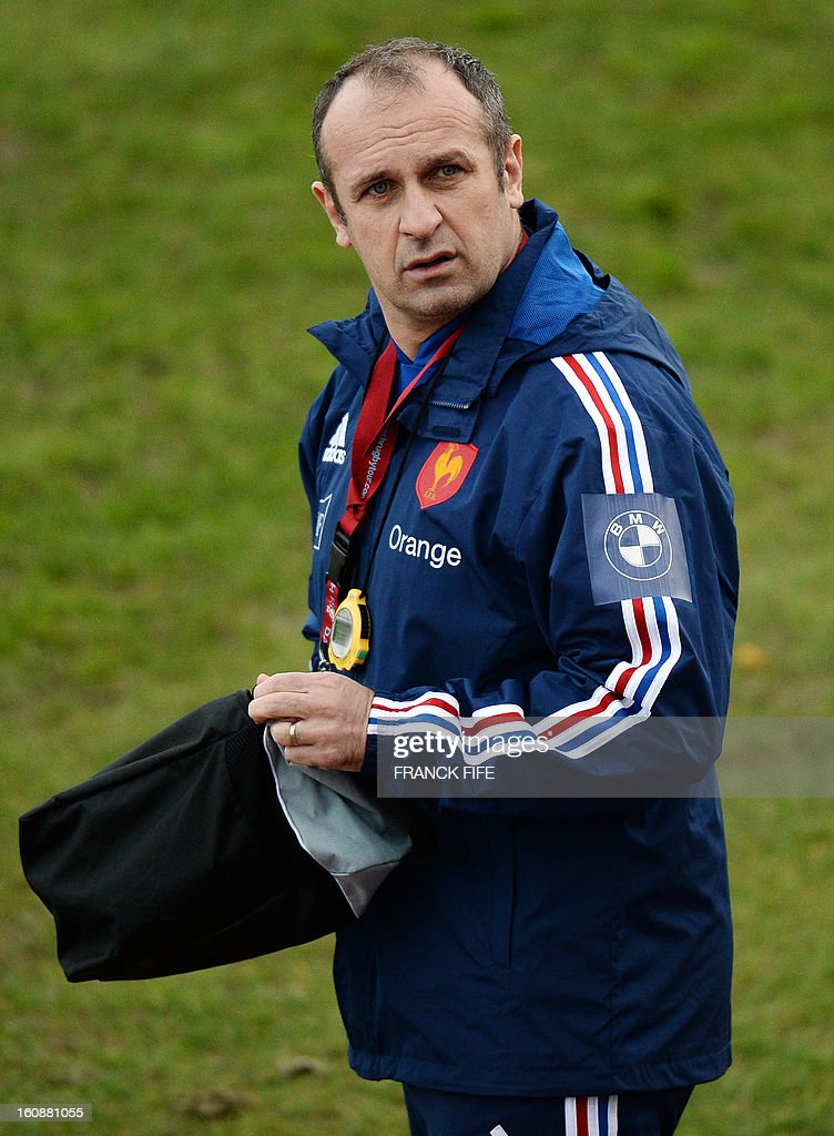 France's rugby union national team head coach Philippe Saint Andre arrives for a training session on February 7, 2013 in Marcoussis, south of Paris, as part of the preparation of the Six Nations rugby union tournament. France will play Wales in their 2013 Six nations' rugby match on February 9, 2013 in Saint-Denis.