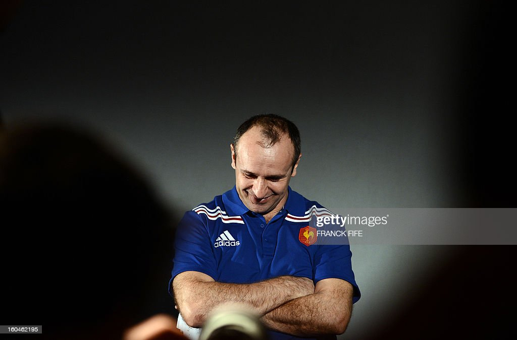France's rugby union national team head coach Philippe Saint-Andre attends a press conference on February 1, 2013 in Marcoussis, south of Paris as part of the preparation of the Six Nations rugby union tournament. France will play against Italy in their 2013 six nations' rugby match on February 3, 2013 in Rome. AFP PHOTO / FRANCK FIFE