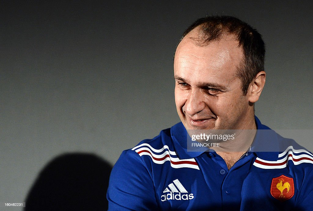 France's rugby union national team head coach Philippe Saint-Andre attends a press conference on February 1, 2013 in Marcoussis, south of Paris as part of the preparation of the Six Nations rugby union tournament. France will play against Italy in their 2013 six nations' rugby match on February 3, 2013 in Rome.