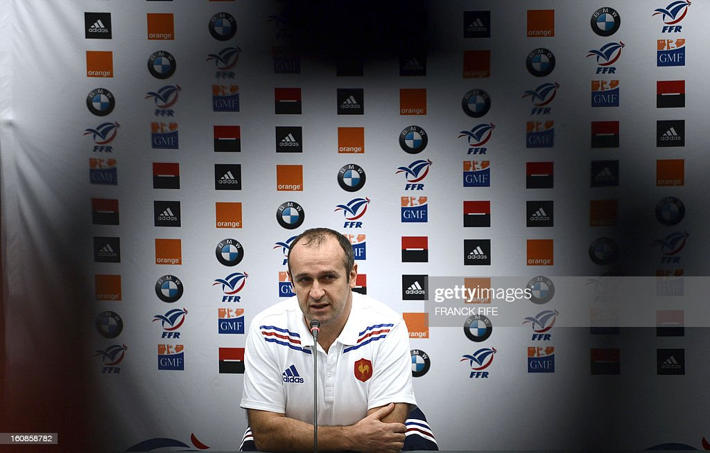France's rugby union national team head coach Philippe Saint-Andre gives a press conference on February 7, 2013 in Marcoussis, south of Paris, as part of the preparation of the Six Nations rugby union tournament. France will play Wales in their 2013 Six nations' rugby match on February 9, 2013 in Saint-Denis.