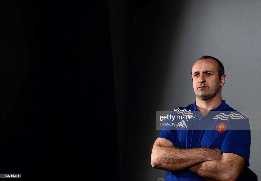 France's rugby union national team head coach Philippe Saint-Andre attends a press conference on March 7, 2013 in Marcoussis, south of Paris, as part of the preparation for the Six Nations rugby union tournament. France will play Ireland in their 2013 Six nations rugby match on March 23, 2013 in Lansdowne Road. AFP PHOTO / FRANCK FIFE
