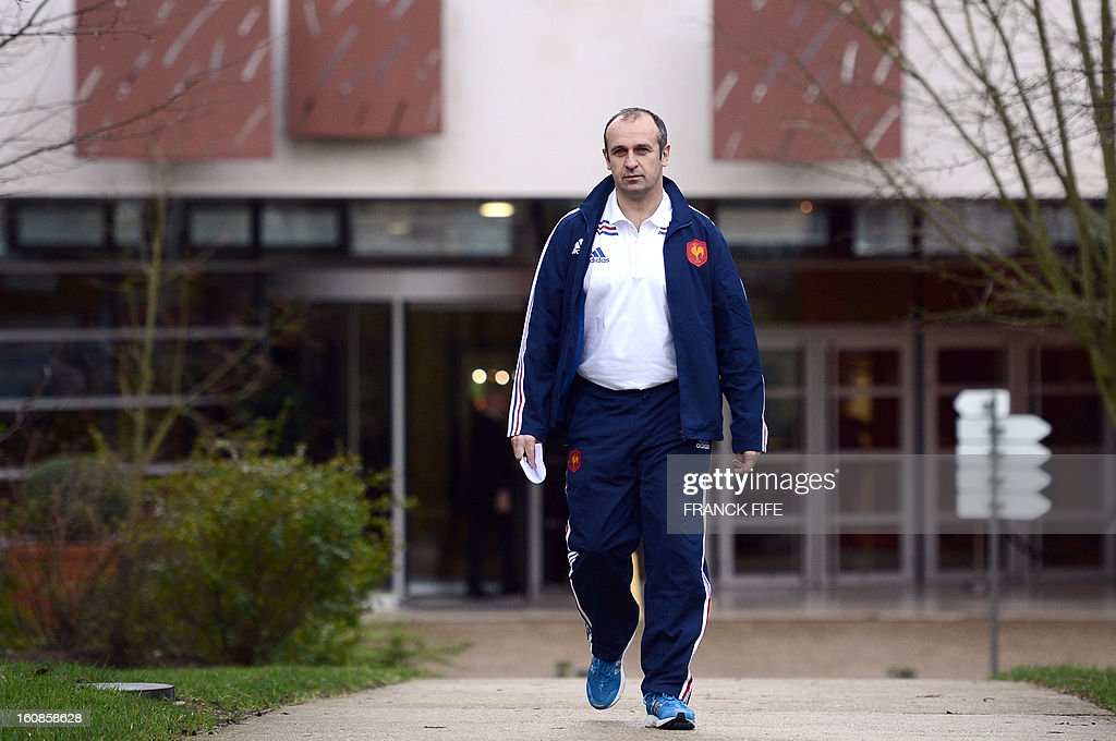 France's rugby union national team head coach Philippe Saint-Andre arrives for a press conference on February 7, 2013 in Marcoussis, south of Paris, as part of the preparation of the Six Nations rugby union tournament. France will play Wales in their 2013 Six nations' rugby match on February 9, 2013 in Saint-Denis.