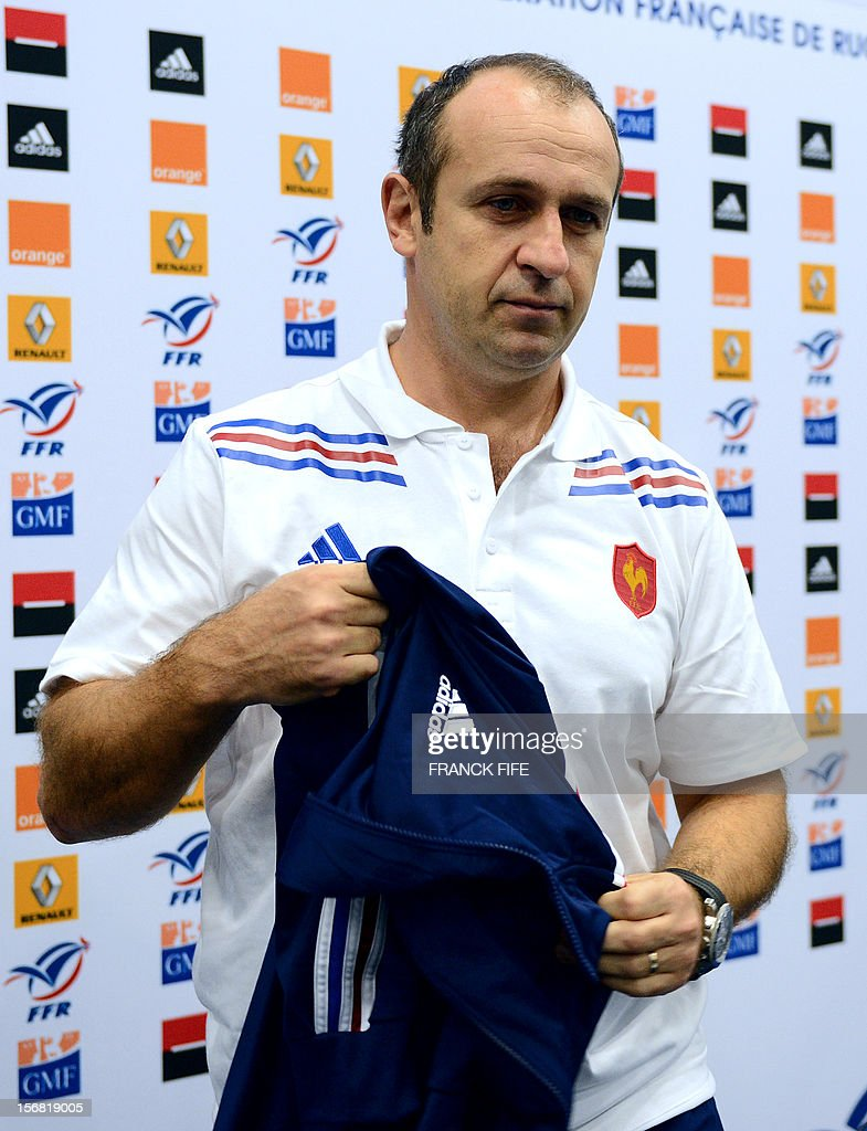 France's rugby union national team head's coach Philippe Saint-Andre leaves a press conference, on November 22, 2012 in Marcoussis, south of Paris, to present the French squad to face Samoa on November 24, 2012 at the Stade de France, in Saint-Denis.