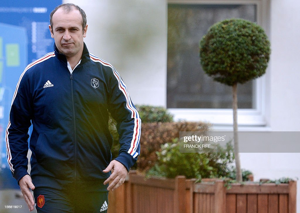 France's rugby union national team head's coach Philippe Saint-Andre leaves after a press conference, on November 22, 2012 in Marcoussis, south of Paris, to present the French squad to face Samoa on November 24, 2012 at the Stade de France, in Saint-Denis.