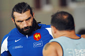 France's rugby union national team lock Sebastien Chabal attends a training session 23 August 2007 in Marcoussis outside Paris France will host the...