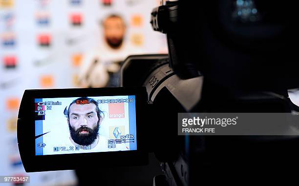 France's rugby union national team lock Sebastien Chabal is seen on a camera screen during a press conference on March 16 2010 in Marcoussis south of...