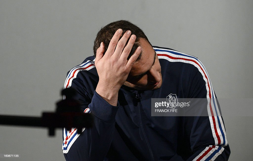 France's rugby union national team lock Yoann Maestri attends a press conference on March 14, 2013 in Marcoussis, south of Paris, as part of the preparation for the Six Nations rugby union tournament. France will play Scotland in their 2013 Six nations rugby match on March 16 in Paris.