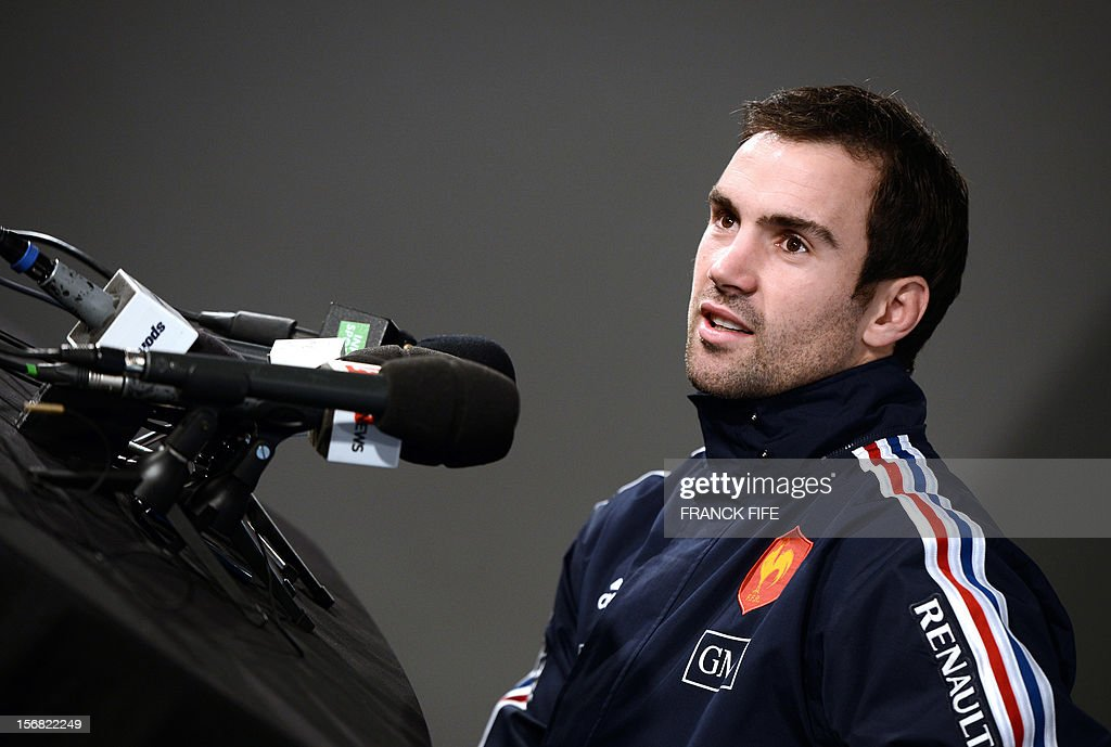 France's rugby union national team' scrum half Morgan Parra speaks during a press conference, on November 22, 2012 in Marcoussis, south of Paris, as part of the preparation for the upcoming last test match against Samoa on November 24, 2012 at the Stade de France, in Saint-Denis. AFP PHOTO / FRANCK FIFE
