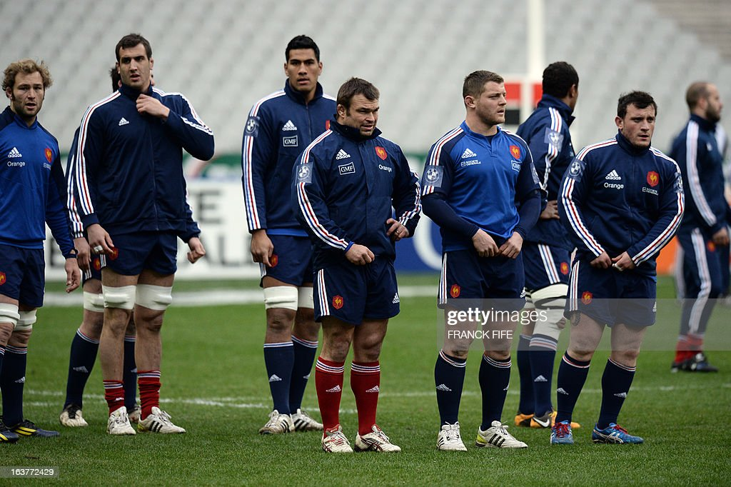 France's rugby union national team's players attend a training session, on March 15, 2013 at the Stade de France in Saint-Denis, north of Paris, on the eve of the rugby union 6 Nations tournament match against Scotland.