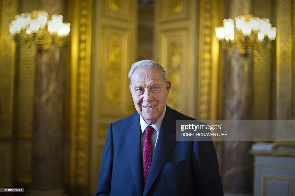 France's ruling UMP party senator <a gi-track='captionPersonalityLinkClicked' href=/galleries/search?phrase=Charles+Pasqua&family=editorial&specificpeople=701273 ng-click='$event.stopPropagation()'>Charles Pasqua</a> poses at the senate on September 21, 2011 in Paris. Pasqua won't be candidate for the next France's Senate (Senat) elections to be held for 165 of the 348 on September 25, 2011.