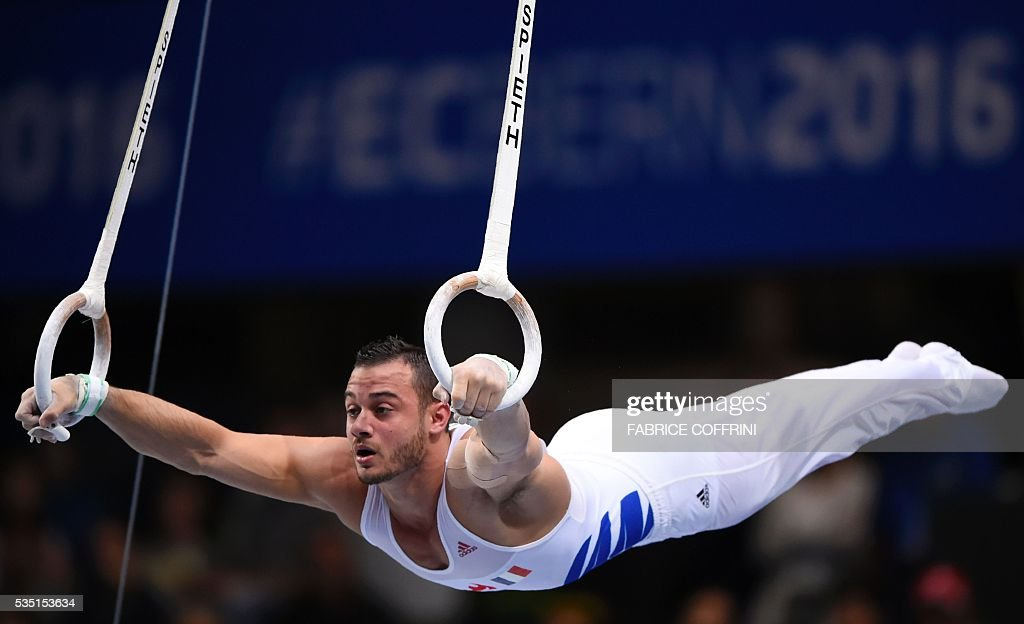 Frances Samir Ait Said performs during the Mens Rings competition of the European Artistic Gymnastics Championships 2016 in Bern, Switzerland on May 29, 2016. / AFP / FABRICE