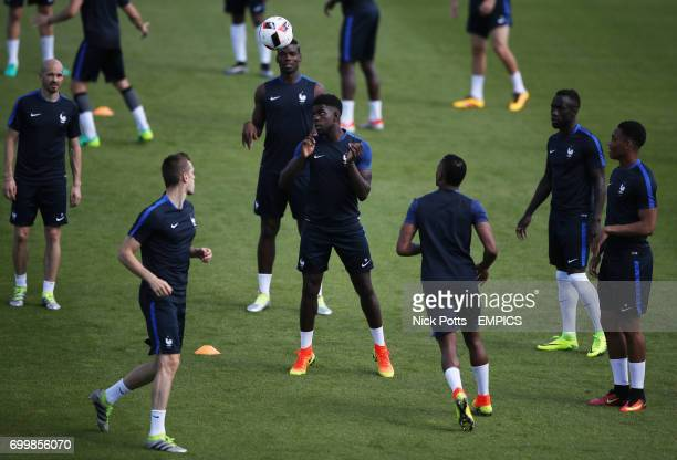 France's Samuel Umtiti plays head tennis during training session prior to playing Portugal in Final tomorrow