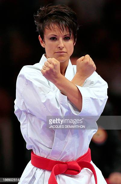 France's Sandy Scordo practices to take the silver medal of the women's Kata event at the Karate world championships on November 24 2012 in Paris AFP...