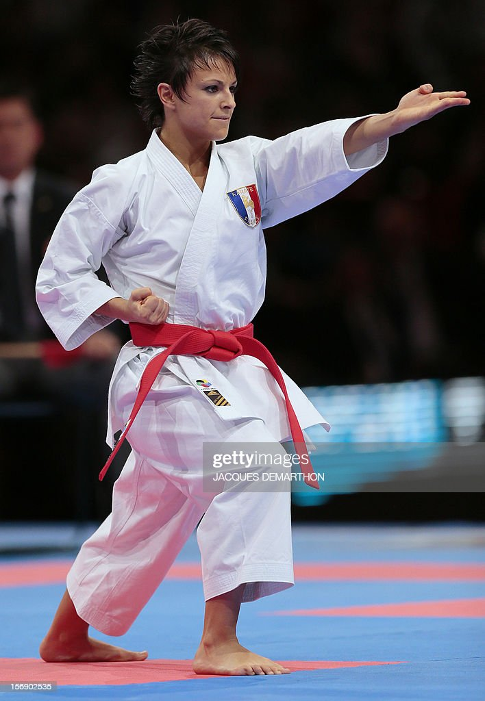 France's Sandy Scordo practices to take the silver medal of the women's Kata event at the Karate world championships on November 24, 2012 in Paris.