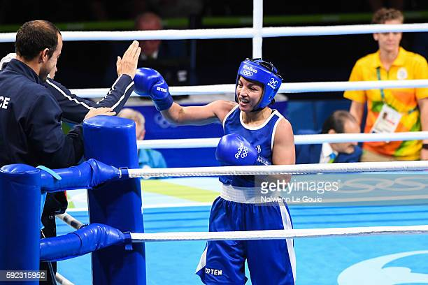 France's Sarah Ourahmoune during during a Women's Fly final bout on Day 15 of the 2016 Rio Olympic Games at Riocentro Pavilion 6 on August 18 2016 in...