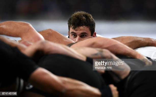 France's scrum half Yann Lesgourgues eyes the ball during the international rugby union test match between France and the New Zealand All Blacks at...