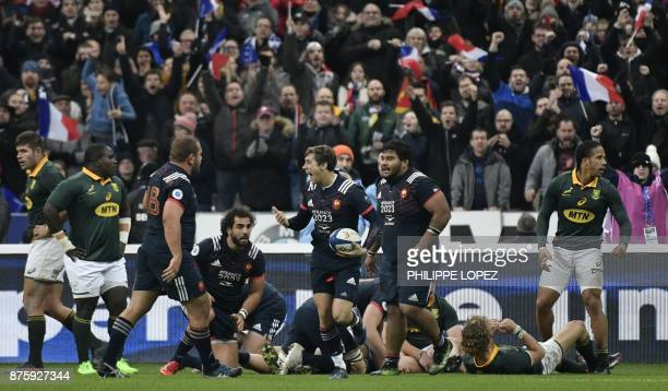 France's scrumhalf Baptiste Serin celebrates scoring a try during the friendly rugby union international Test match between France and South Africa's...