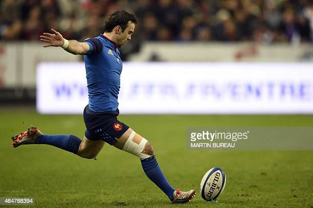France's scrumhalf Morgan Parra kicks a penalty during the Six Nations international rugby union match between France and Wales on February 28 2015...