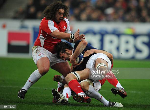France's second row Julien Pierre fights for the ball with Wales prop Adam Rhys Jones during the 6Nations rugby union match France vs Wales on March...
