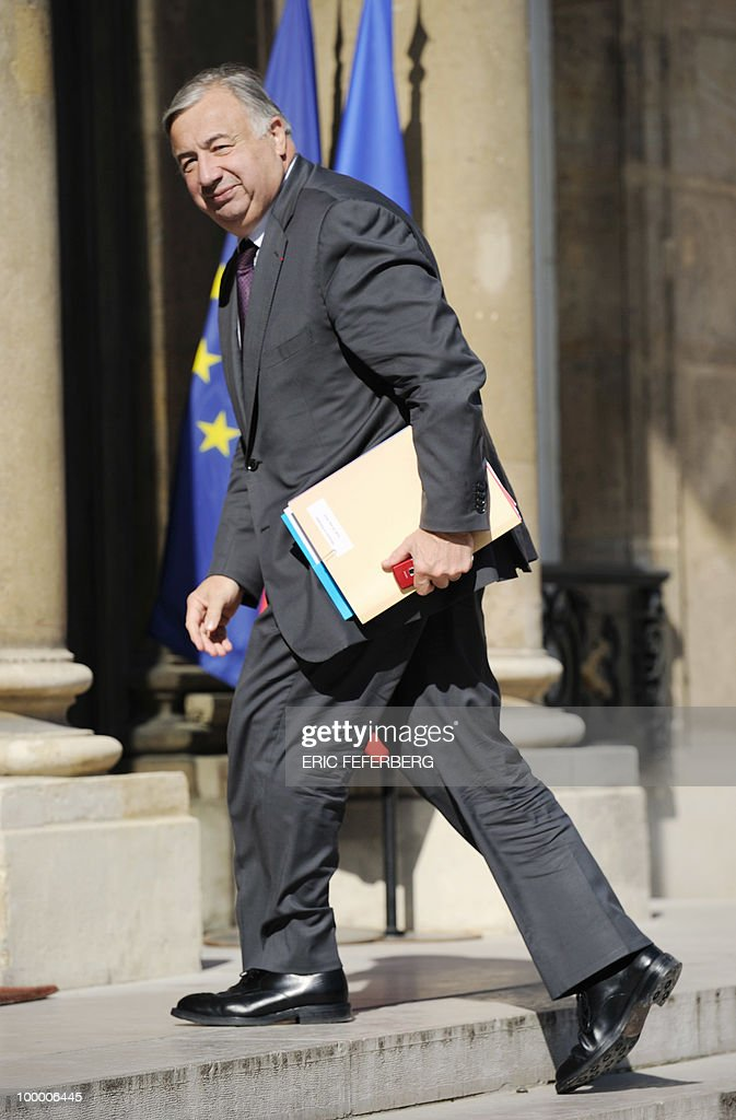 France's Senate President Gerard Larcher arrives at the Elysee Palace on May 20, 2010 in Paris to attend a second meeting on public deficit with French President Nicolas Sarkozy. France reopened its 2010 budget to add in the 111 billion euros it has promised to contribute to Europe's new 750-billion-euro emergency stability fund, Finance Minister Christine Lagarde said yesterday.
