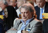 France's singer Herve Vilard looks on during the National Council of Resistance of Iran annual meeting on July 9 in Le Bourget near Paris The...
