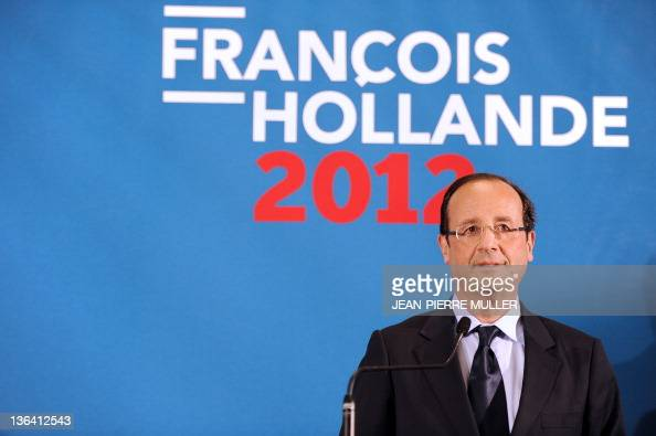 France's Socialist Party candidate for the 2012 French presidential election Francois Hollande is seen during a press conference after visiting a...