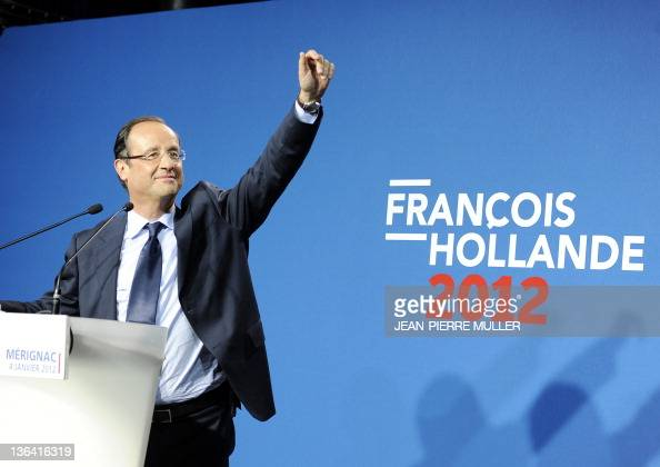 France's Socialist Party candidate for the 2012 French presidential election Francois Hollande gestures during his speech in Merignac southwestern...