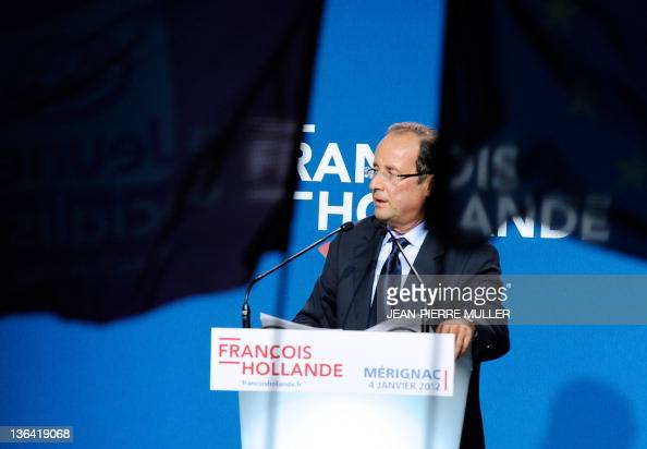 France's Socialist Party candidate for the 2012 French presidential election Francois Hollande speaks in Merignac southwestern France on January 4...