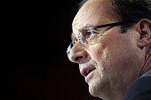 France's Socialist Party candidate for the 2012 French presidential election Francois Hollande delivers a speech during the Abbé Pierre Foundation...