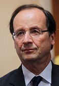 France's Socialist Party candidate for the 2012 French presidential election Francois Hollande is pictured as he visits a student association on...
