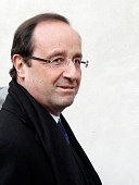 France's Socialist Party candidate for the 2012 French presidential election Francois Hollande visits the French Centre for Study and Research on...