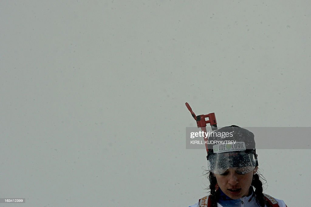 France's Sophie Boilley prepares to shoot in fog during a training session before Women 7.5 km Sprint during IBU World Cup Biathlon at Laura Cross Country and Biathlon Centre in Sochi on March 9, 2013.